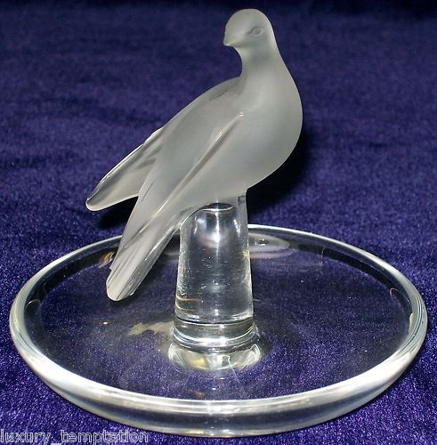 Lalique Frosted Crystal Glass Dove Pin Ring Jewelry Dish Made in France | eBay