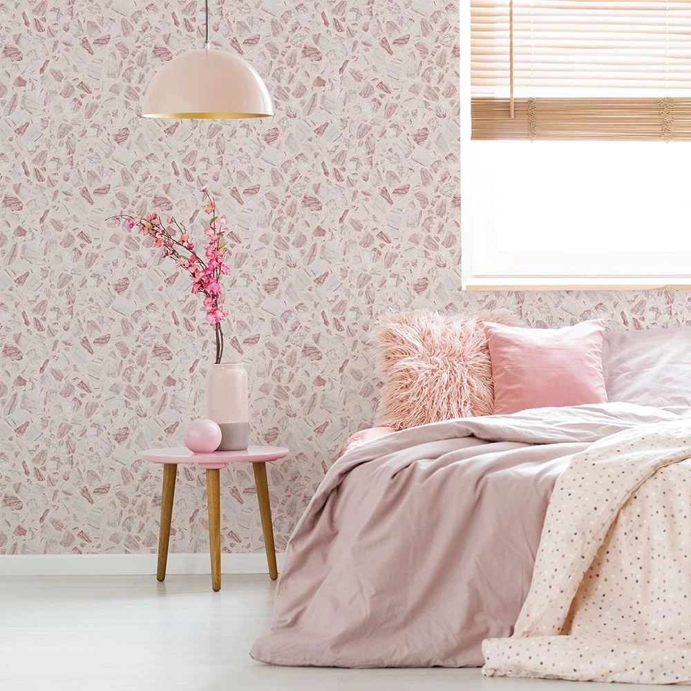 Speckled Terrazzo Self Adhesive Wallpaper In Rose Pink Design By Tempa Removable Wallpaper Terrazzo Peel And Stick Wallpaper