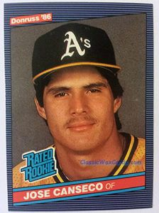1986 Donruss Jose Canseco Baseball Card 1986 Donruss