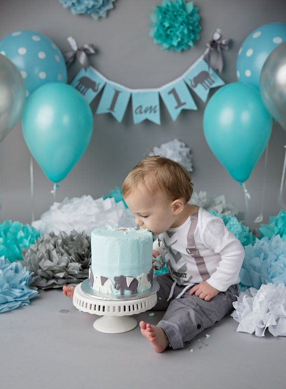 This Sweet Little Boy Celebrated His 1st Birthday Cake Smash Session With Our I AM 1 Elephant Banner Listing Is For An