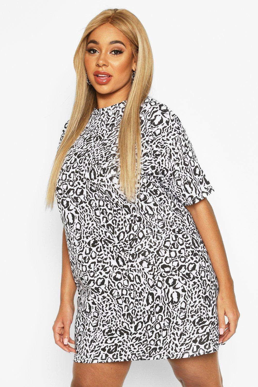 Plus Leopard Drop Shoulder T Shirt Dress Boohoo Bodycon Fashion Shirt Dress T Shirt Dress [ 1500 x 1000 Pixel ]