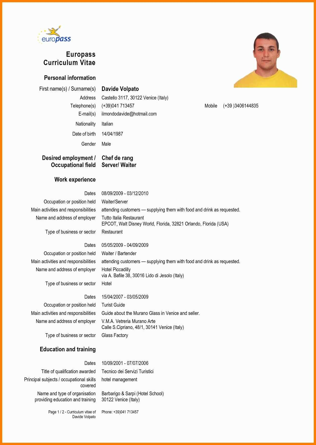 3f2 English Cv Sample Cv English Example Curriculum Vitae English