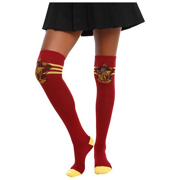 Harry Potter Gryffindor Over-The-Knee Socks | Hot Topic ($1) ❤ liked on Polyvore featuring intimates, hosiery, socks, harry potter, above the knee socks, overknee socks, over knee socks, over the knee socks and over the knee hosiery