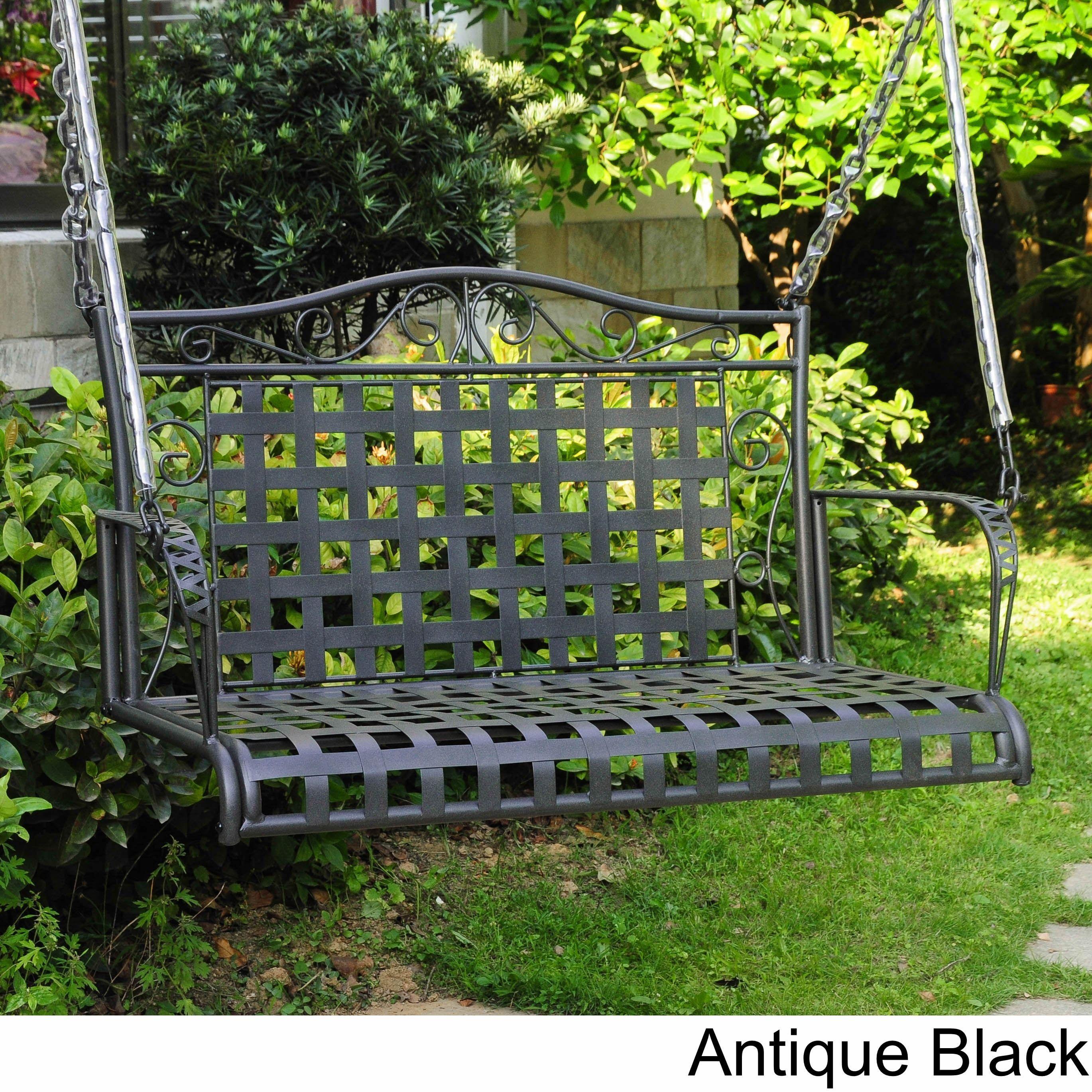 International Caravan Wrought Iron Patio Swing Antique Black