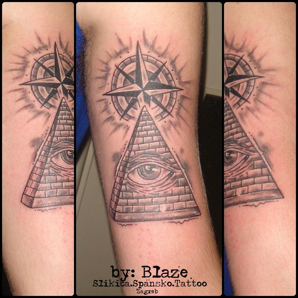 Eye pyramide with compass tattoo by Blaze Compass tattoo