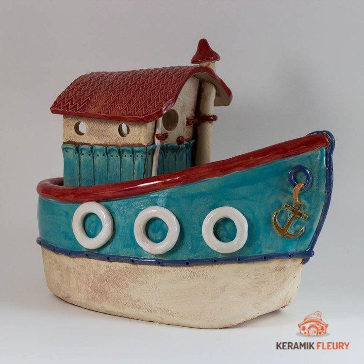 Keramik Schiff Kutter Slabpottery Maritime Keramik Fur Haus Und Garten Keramik Fleury Keramik Fur Haus Und Garten Diy Pottery Ceramics Slab Pottery