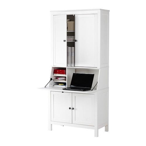 Hemnes Secretary With Add On Unit White Ikea 439 Meghan Baker Might Be Too Small But Bookcases Or Cabinet To The Side It Could Work