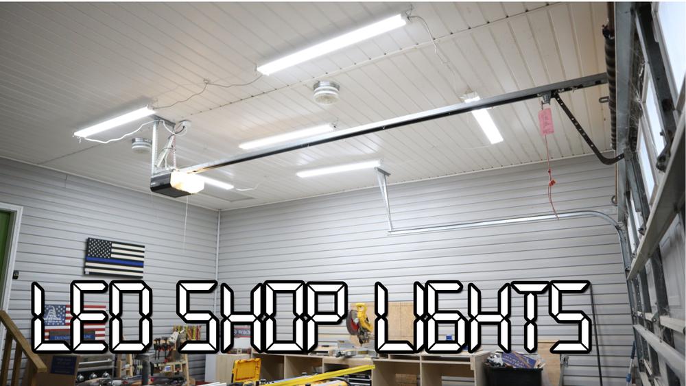 Led Shop Lights For The Garage With Alexa Control 731 Woodworks We Build Custom Furniture Diy Guides Monticello Ar Led Shop Lights Garage Lighting Led Garage Lights