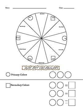 Color Wheel Worksheets MD TeacherSellers' Board 2017