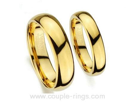 Yellow Gold Tungsten Carbide Wedding Bands for Men and Women