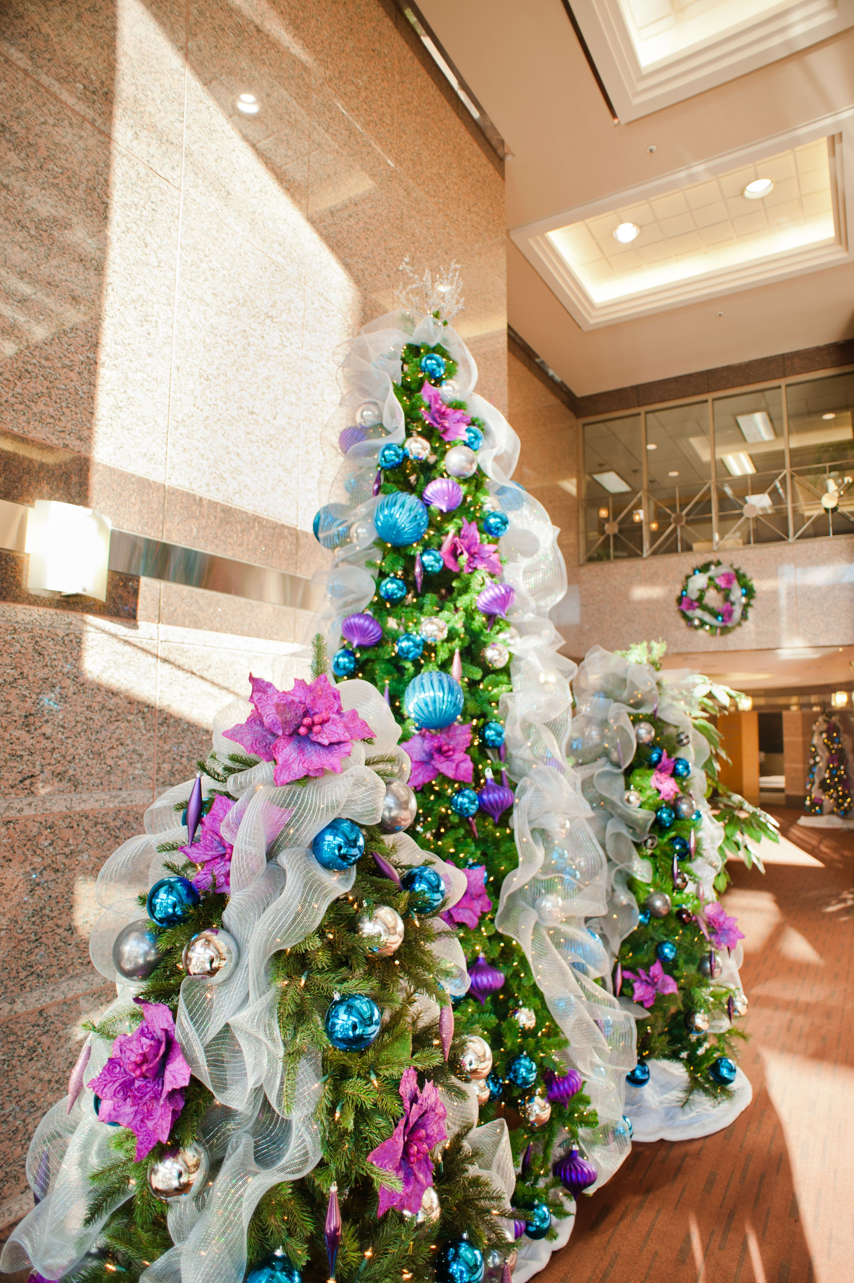jewel tone office lobby holiday decor