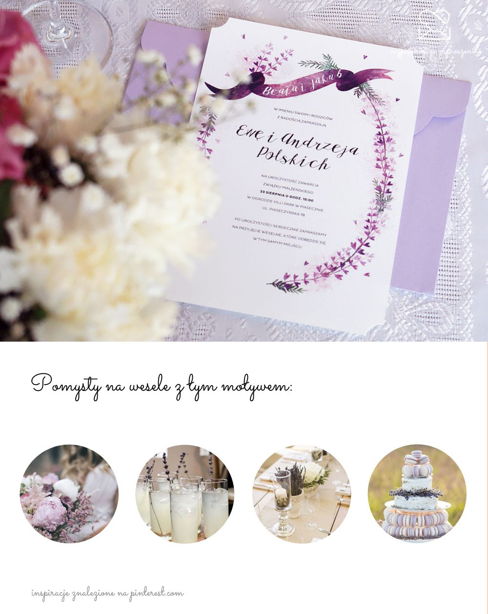 Motyw Prowansji Papeteria ślubna Zaproszenia ślubne Provence Lavender Wedding Stationery Theme Purple