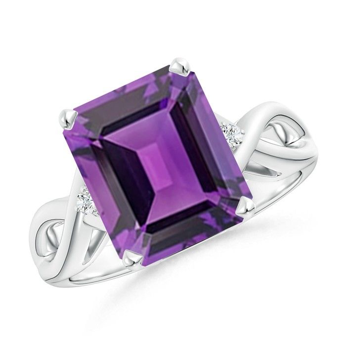 Love this Jewelry Style from Angara! Solitaire Amethyst and Diamond Crossover Shank Ring