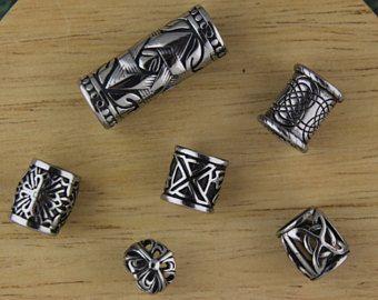 Mix Of 6 Stainless Steel Dread Beads Viking Beard Dreadlock 8mm