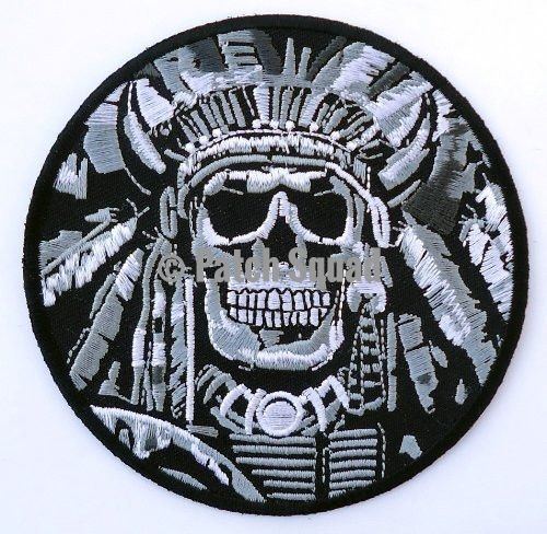 Indian Chief Skull Embroidered 4 Inch Biker Black Patch
