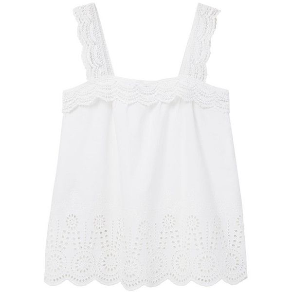 Violeta BY MANGO Openwork Cotton Top ($60) ❤ liked on Polyvore featuring tops, scalloped top and white top