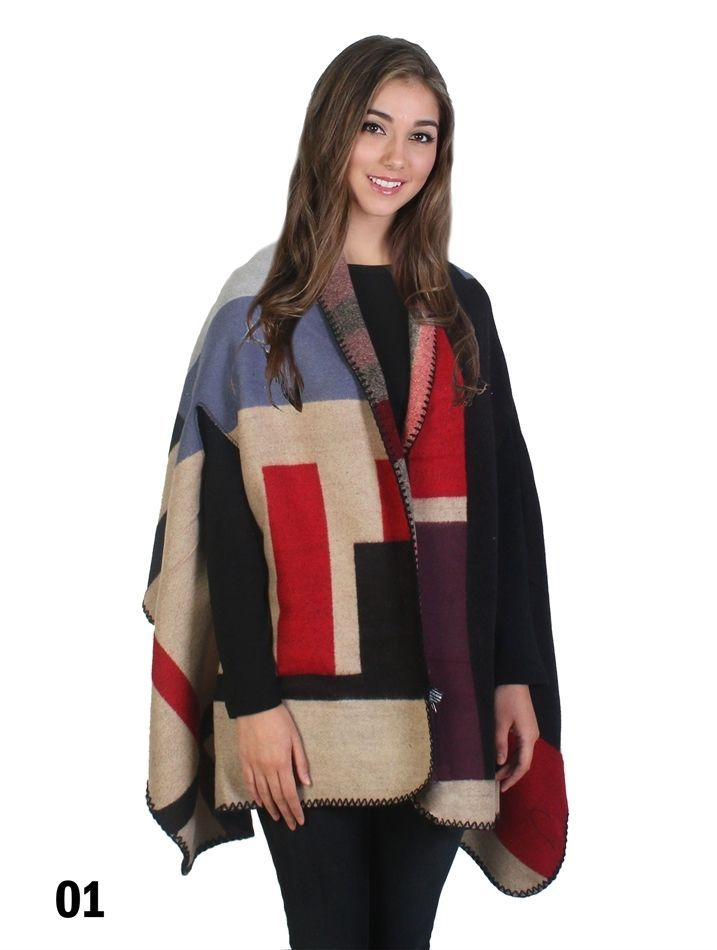 All Season Bold Multi Color Cape Wrap One Size Fits All  USA Sizes NEW NWT  #NorthSouthFashions #Cape #Casual