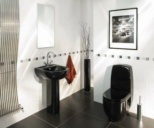33 Dunkle Badezimmer Design Ideen   Bad Einrichtung Schwarzes Waschbecken  Kontrast Modern Bathroom Minimalistic Look