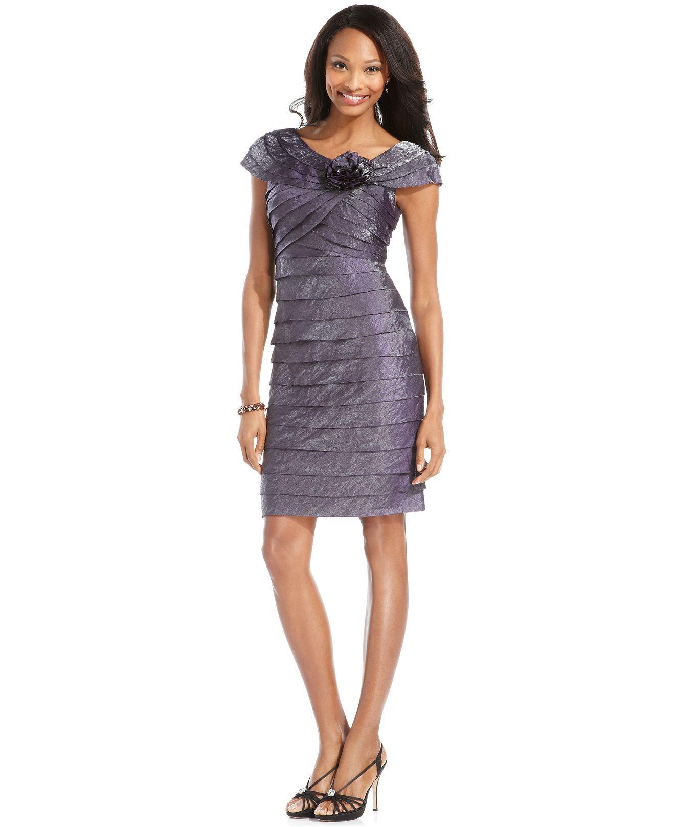 London Times Petite Dress, Rosette Cocktail Dress - Dresses - Women ...