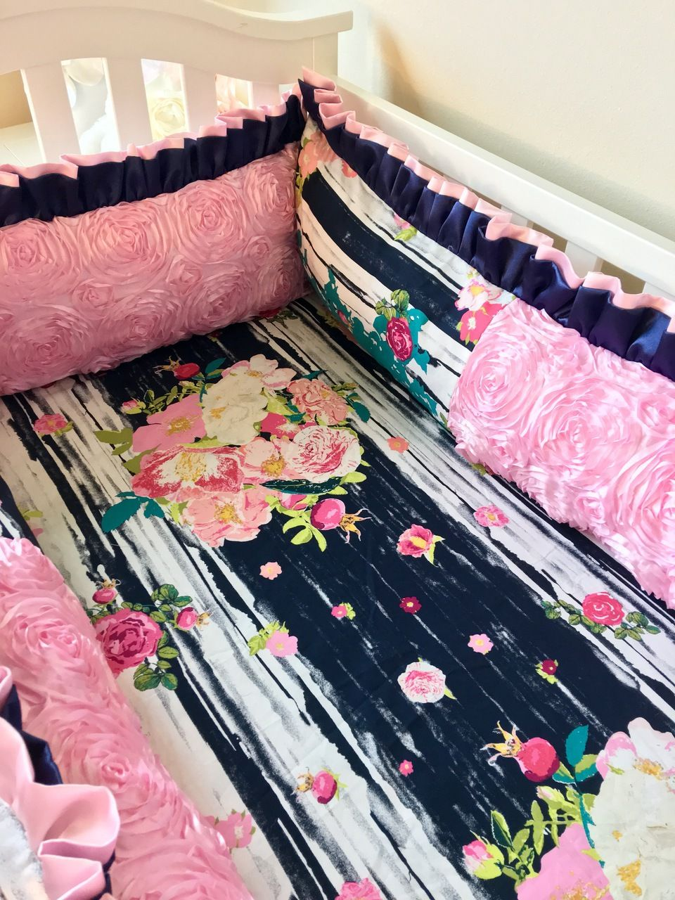 navy and pink floral crib bumper baby crib bumpers pink crib baby crib bumpers baby crib. Black Bedroom Furniture Sets. Home Design Ideas