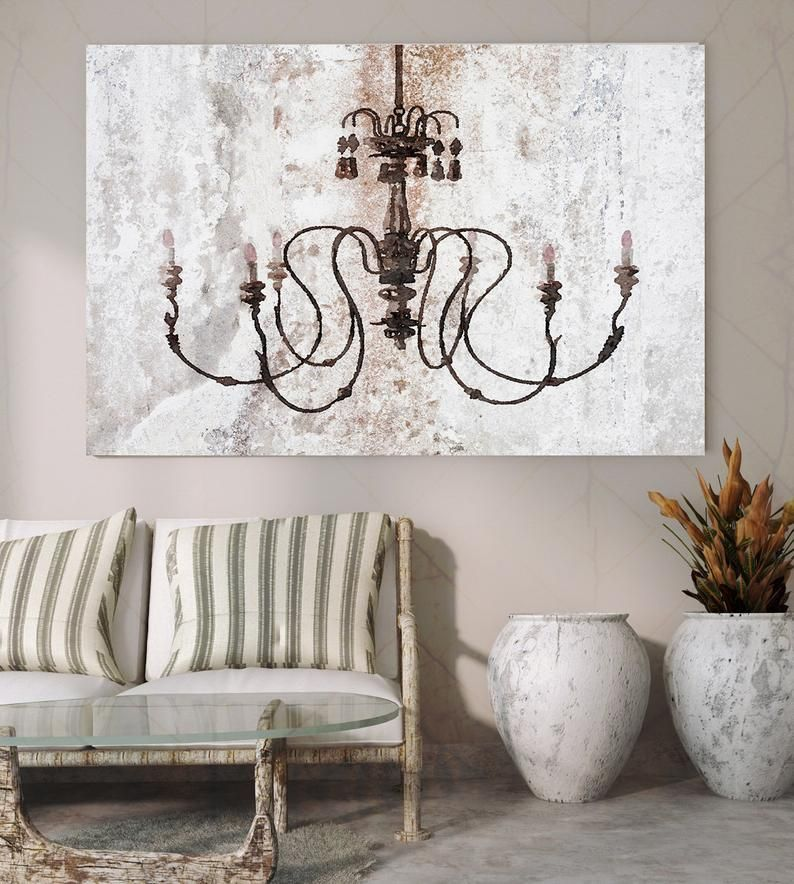 Chandeliers Canvas Print Chandelier Painting Shabby Chic Etsy Stretched Canvas Wall Art Shabby Chic Chandelier Horses Wall Decor