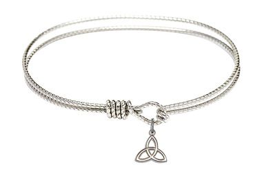 Sterling Silver Oval Eye Hook Bangle Bracelet - Trinity Irish Knot charm - 7.25 inch (B4207RH-5100SS)