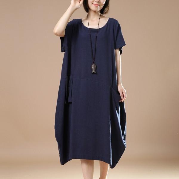 c25016d13f15 Donne Cotone Lino vestito largo Summer Dress corto abito manica size abito  Grande