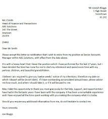 Retirement Resignation Letter  Resignation Letter Sample Written