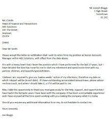 Retirement Resignation Letter  Resignation Letter Sample Written