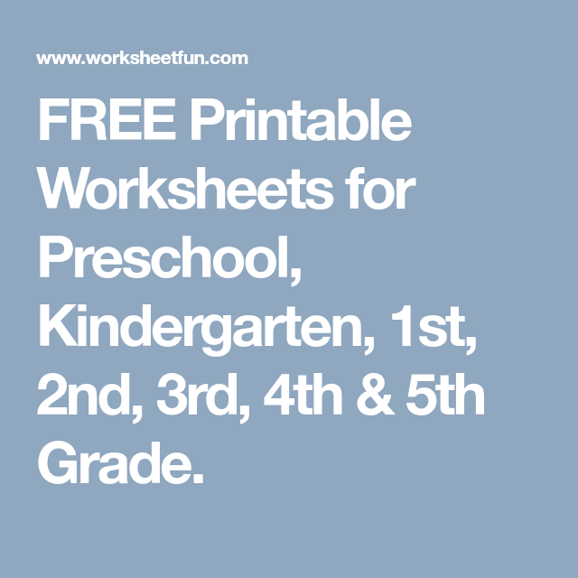 FREE Printable Worksheets for Preschool, Kindergarten, 1st, 2nd, 3rd ...