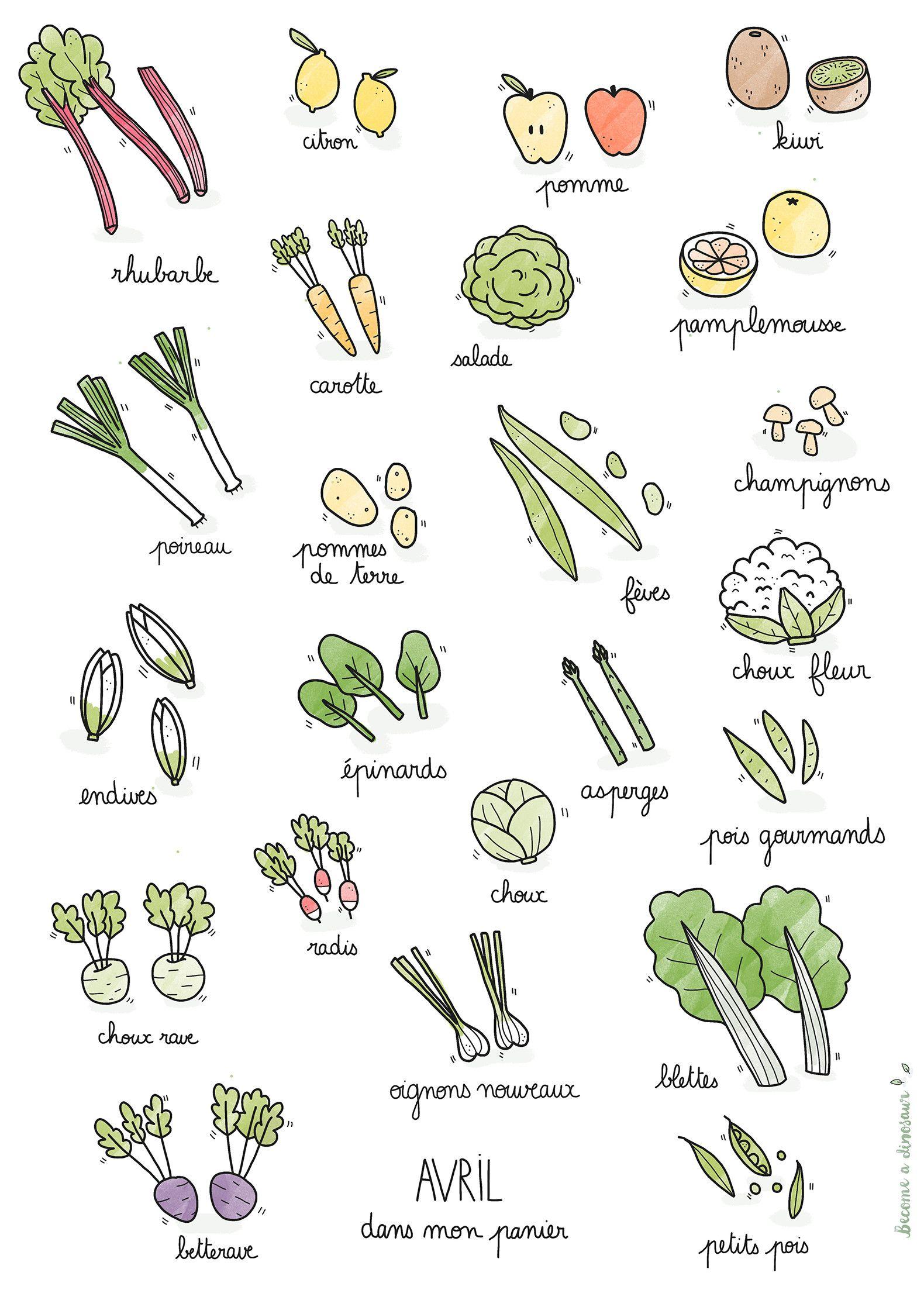 Fruits et l gumes de saison avril poster pinterest - Dessin de legumes ...