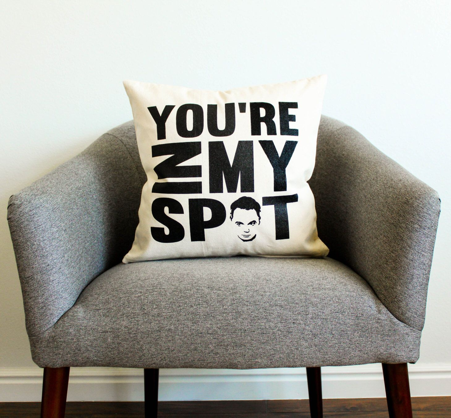"""the big bang theory sheldon cooper """"you're in my spot"""" pillow - tv"""
