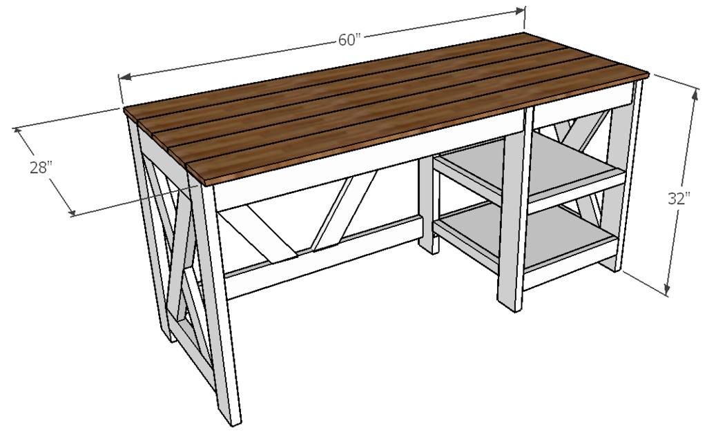 Farmhouse X Office Desk in 2020 Diy office desk