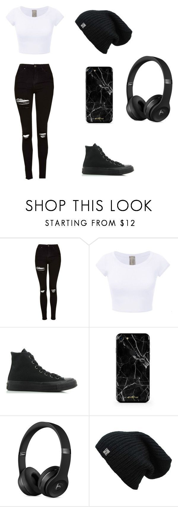 ⚪⚫ by valeriecolemann ❤ liked on Polyvore featuring Topshop and Converse #trendyoutfitsforschool