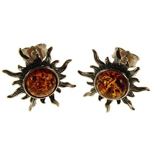 Women Jewelry Dangle Baltic Amber Drop Sun Earrings Sterling Silver 925
