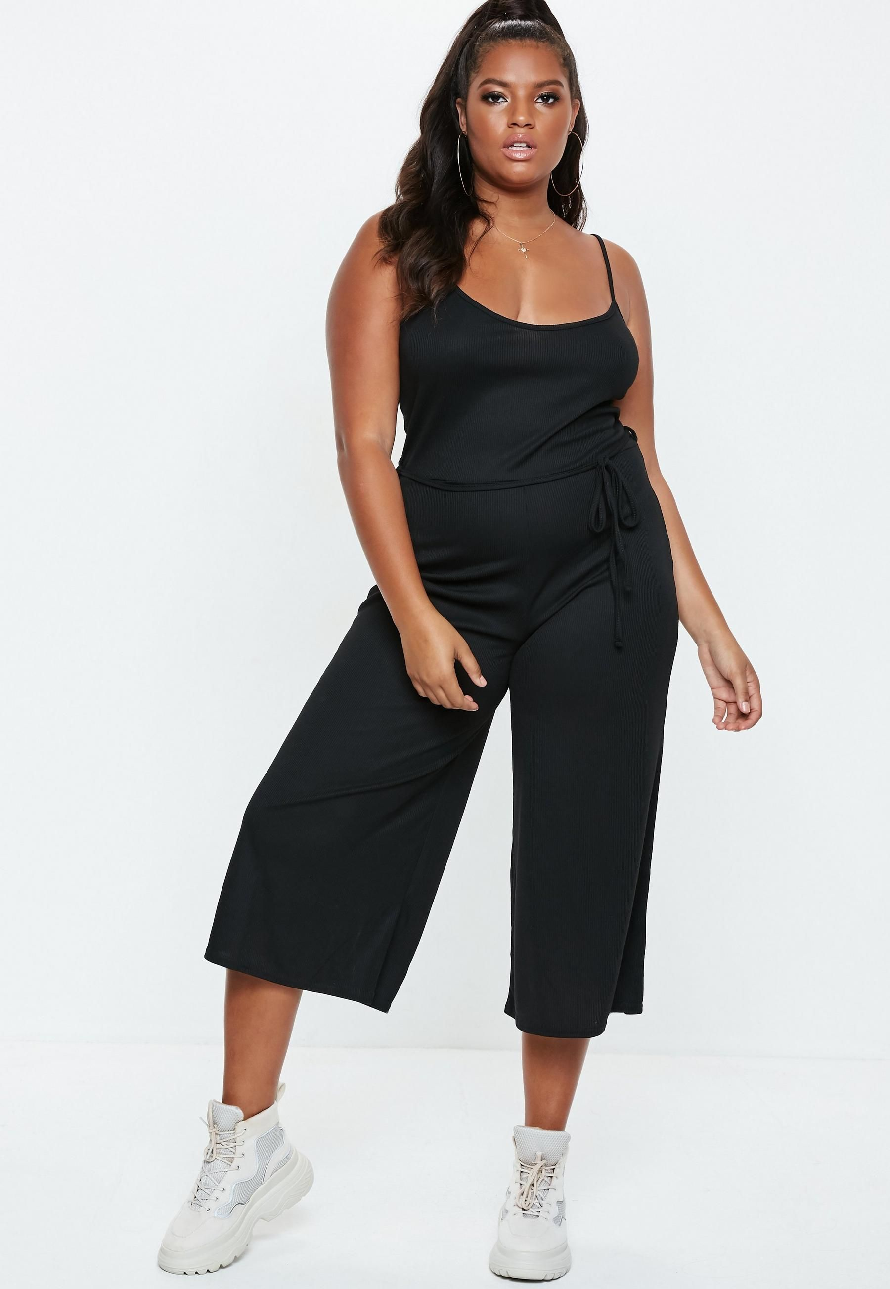 9164cd4633a Plus Size Ribbed Culotte Jumpsuit Black in 2019