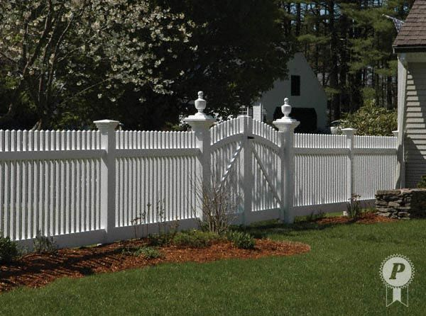 Fence Finials Adorn Capped Posts On Either Side Of Gate Vinyl Fence Garden Gates And Fencing Picket Fence Gate