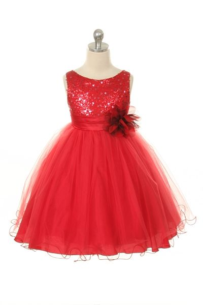 cd936d01de Glitter Tulle Sequin Sparkle Flower Girl Dress in Red