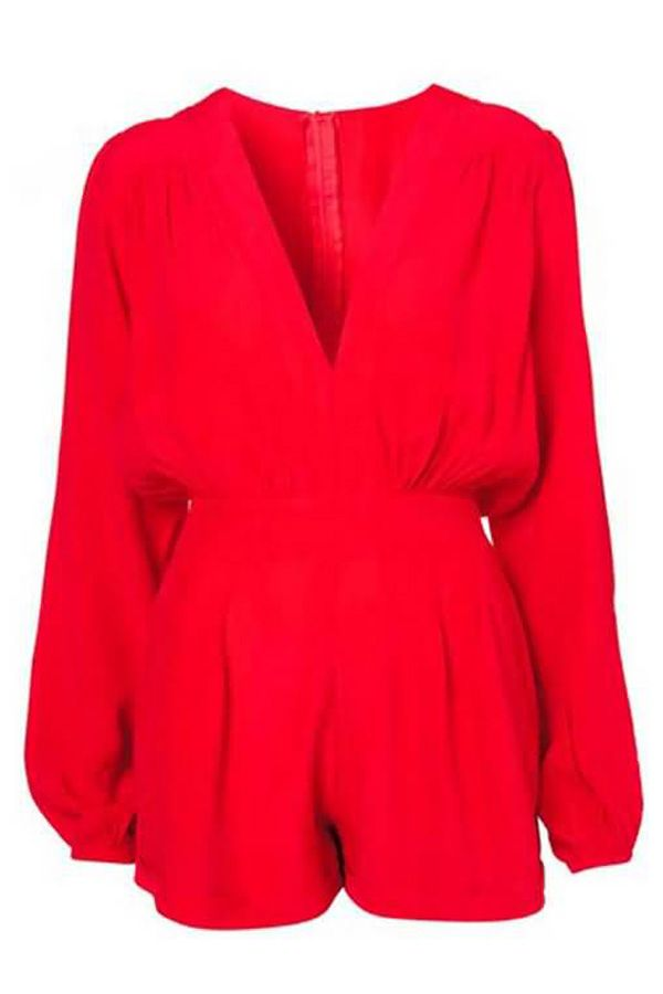 $29.99 Red Deep V Neck Long Sleeve Romper Shorts @ MayKool.com