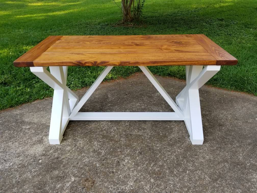 Two Tone X Trestle Farmhouse Table that Ships To Your Door