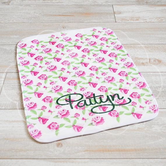 Personalized Roses Baby Name Burp Cloth by LittlePrettiesBoutiq