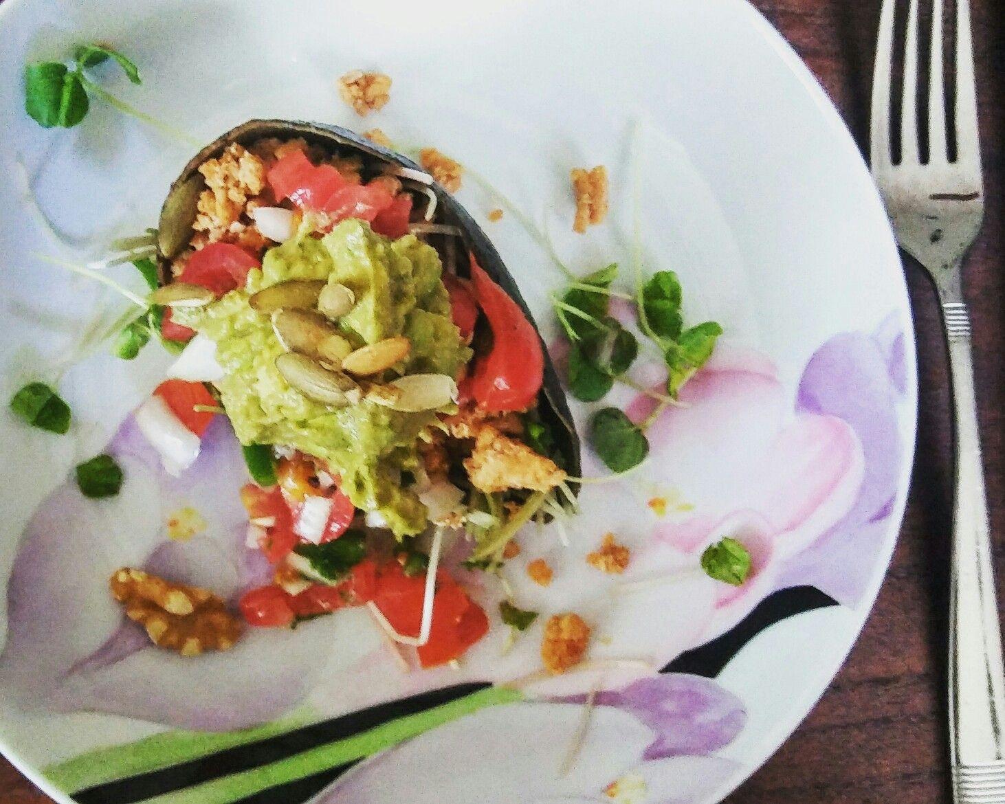 Taco salad in an avocado cup