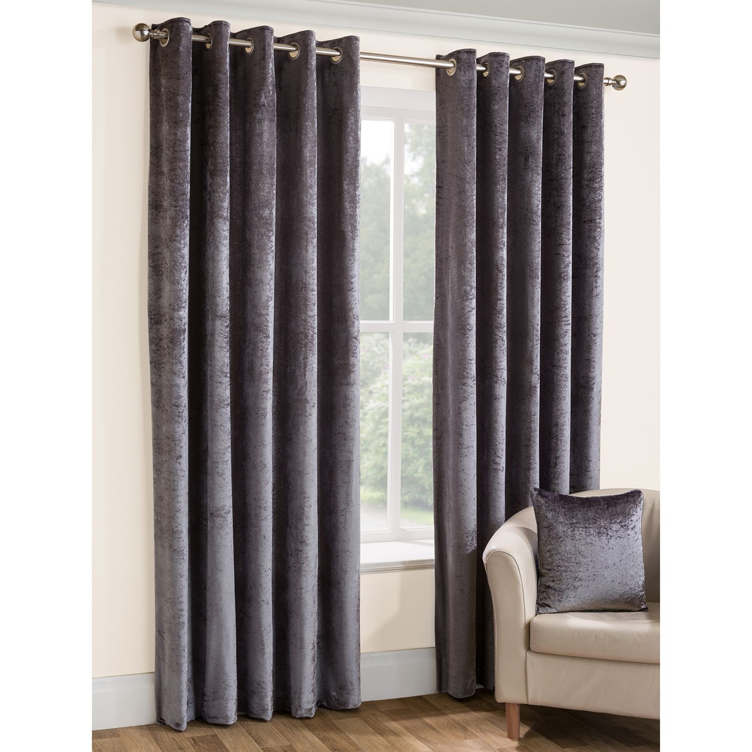 Opulence Lined Ready Made Eyelet Ring Top Crushed Velvet Curtains By Belfield Furnishings In Champagne Praline And Silv Curtains Cool Curtains Velvet Curtains
