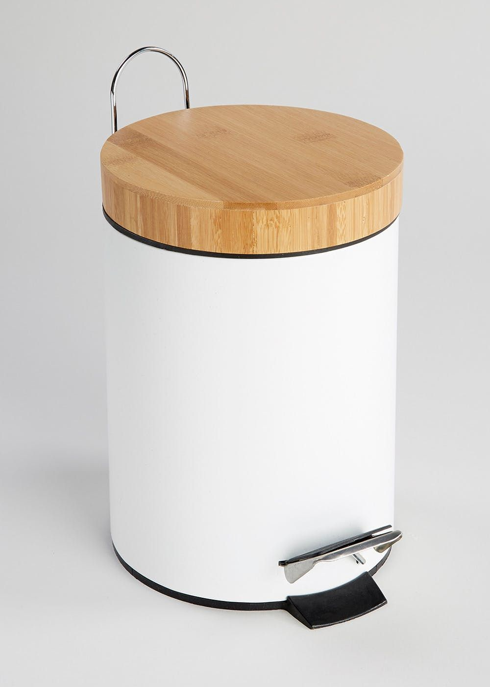 Add Texture To Your Bathroom With This Metal Bin In White A Bamboo Lid Featuring Foot Pedal And Plastic Insert For Easy Use Dimensions 25cm X 17cm