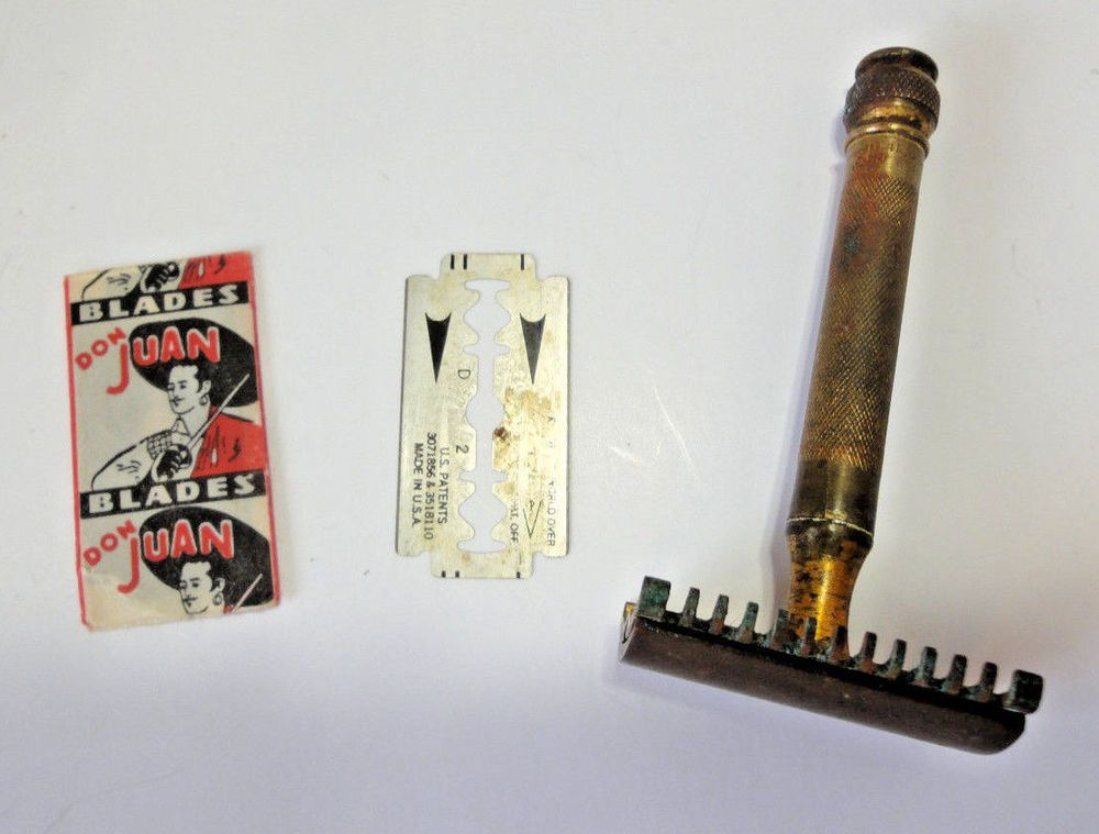 Gillette Brass Safety Razor Canada Patent 1920 c/w Case