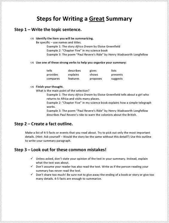 Fly Girls Steps for Writing a Great Summary Lang Arts - sample chapter summary template