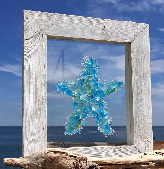 10 X 12 A Unique Star Fish Design Made Of All Beach Glass Soft Tones Of Blue Teal And Clear In A Handmade Barnbo Beach Glass Beach Glass Art Glass Window Art