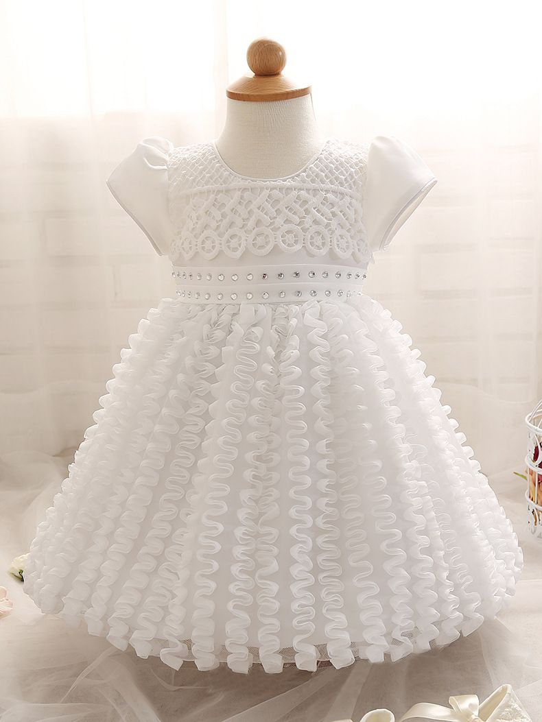 White pricess prom dress flower girl dress short wedding flower