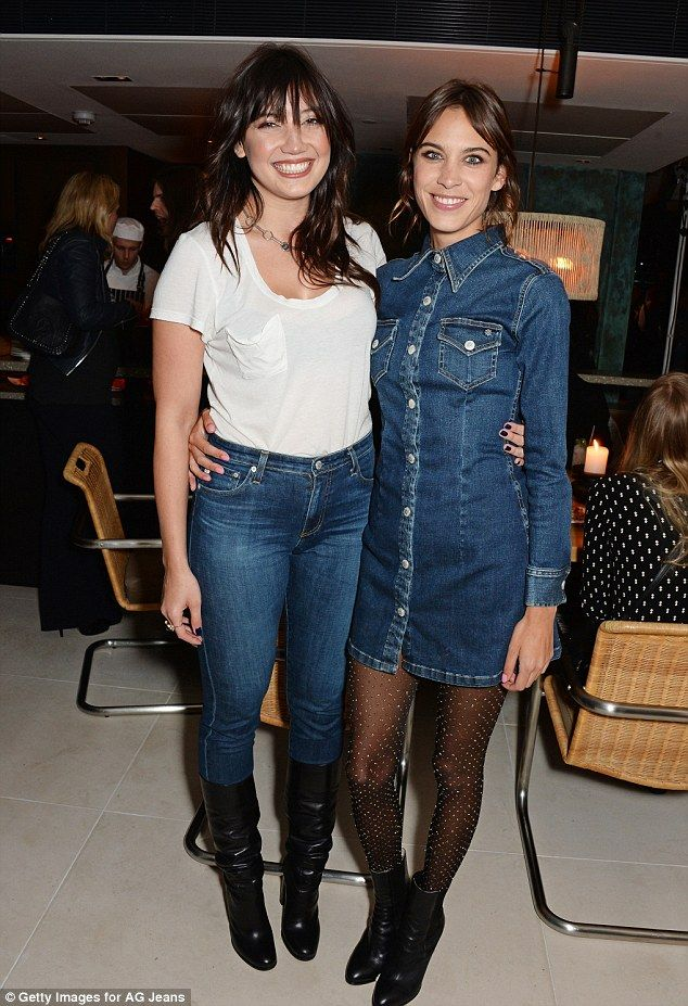 Calling favours: Alexa Chung posed with showbiz pals including Daisy Lowe on Thursday nigh...
