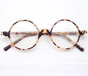 Vintage Retro Round Amber Leopard Tortoise Shell Eyeglass Frames Spectacles RX